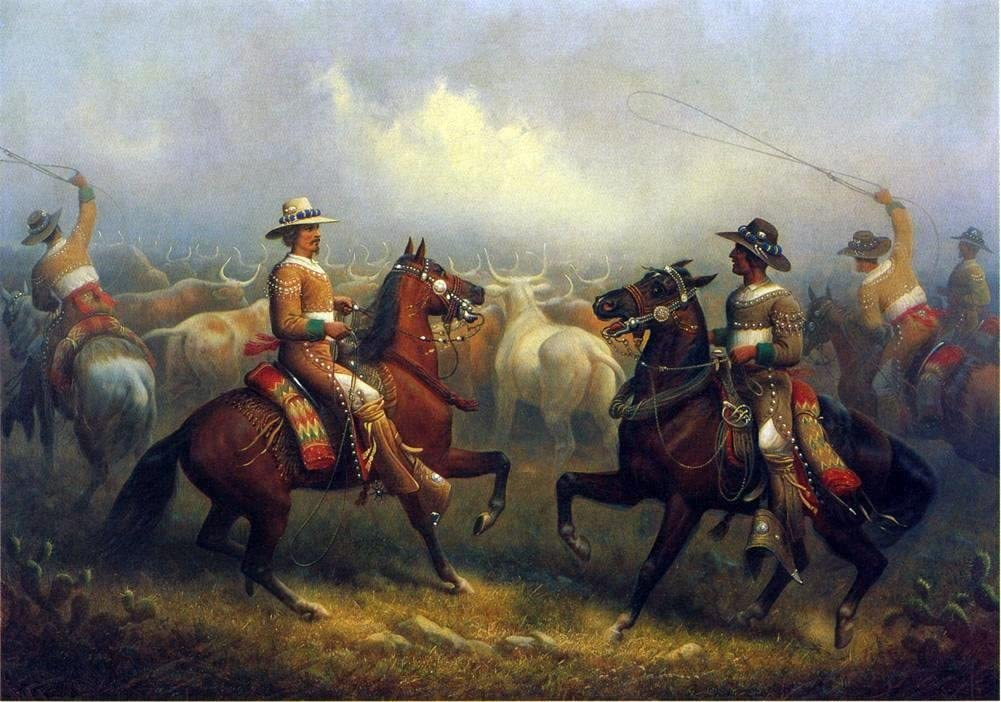Painting of two vaqueros on horseback rounding cattle