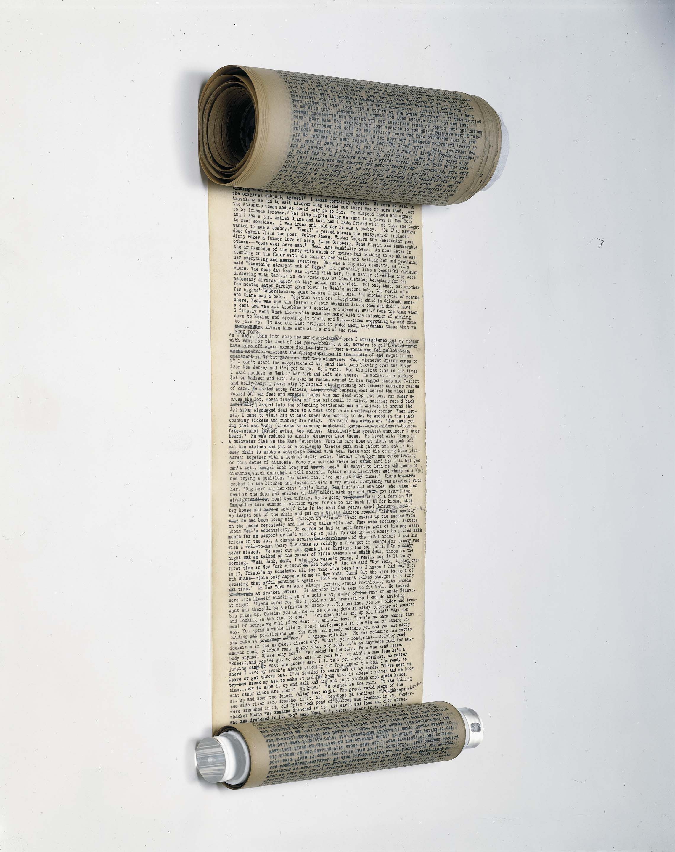 The original On the Road manuscript: A scroll with small typewriter text