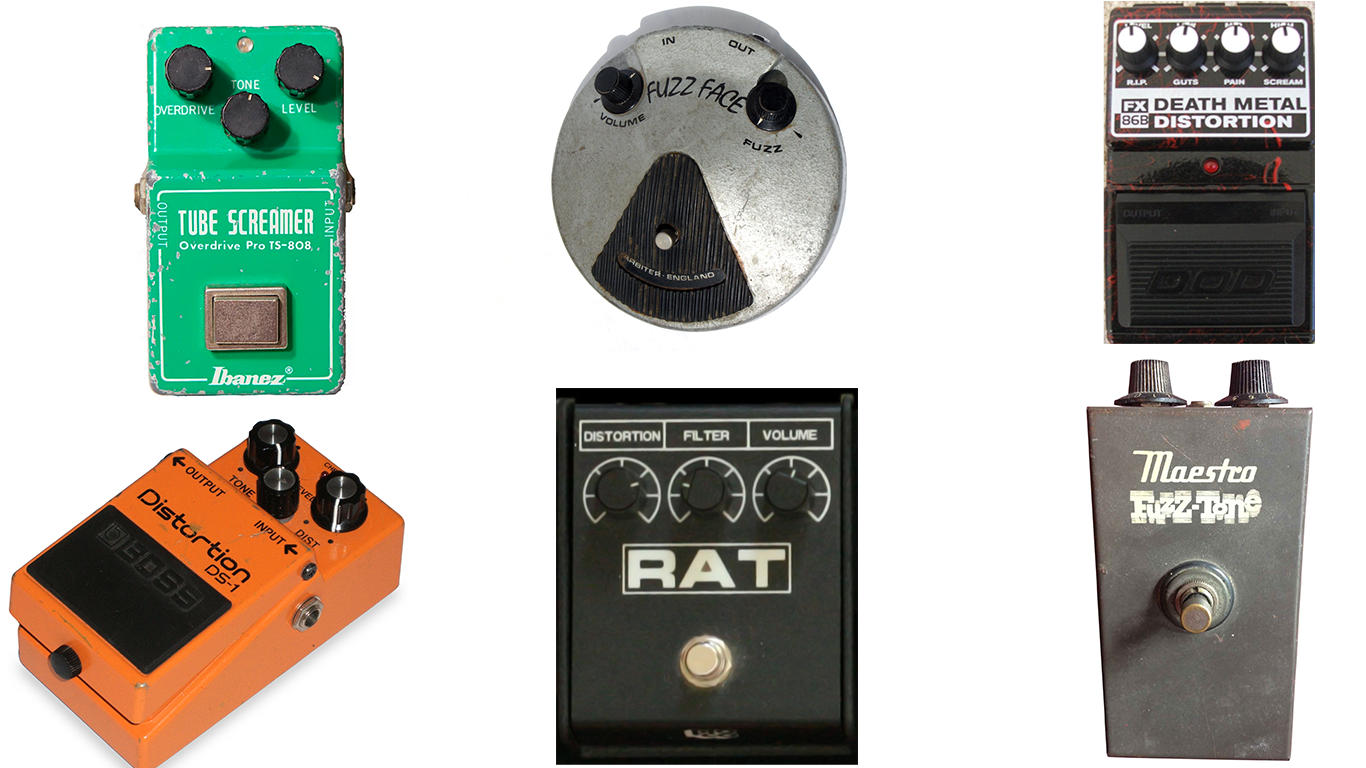 Six different types of distortion pedal designs