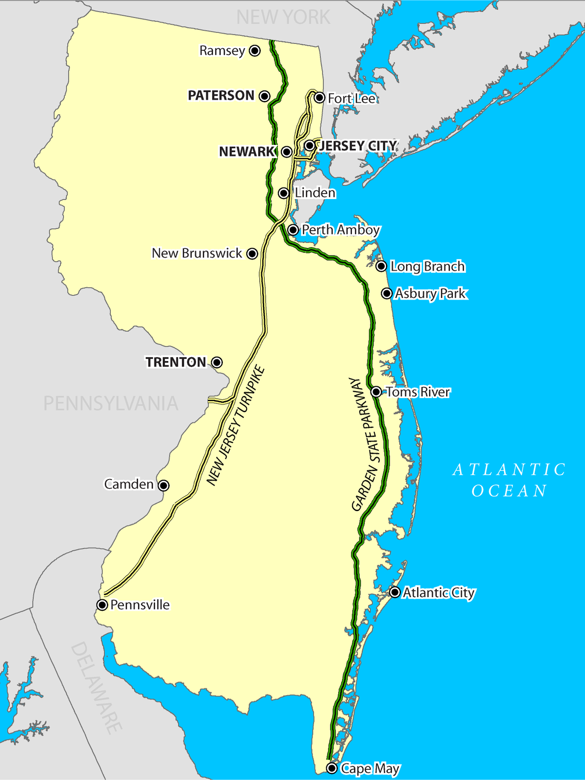 A map of New Jersey showing the Garden State Parkway and New Jersey Turnpike